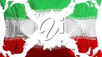 Iran torn flag fluttering in the wind, over white background, 3d rendering