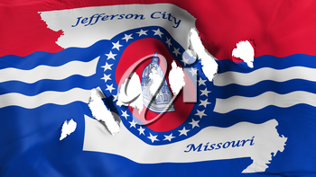 Jefferson city, capital of Missouri state flag perforated, bullet holes, white background, 3d rendering