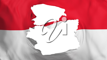 Tattered Monaco flag, white background, 3d rendering