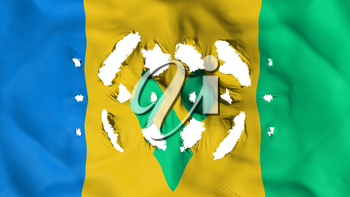 Saint Vincent and Grenadines flag with a small holes, white background, 3d rendering