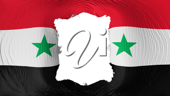 Square hole in the Syria flag, white background, 3d rendering