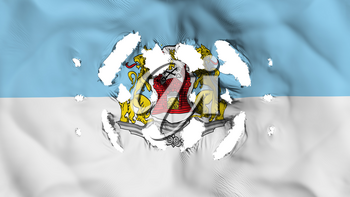 Riga city, capital of Latvia flag with a small holes, white background, 3d rendering