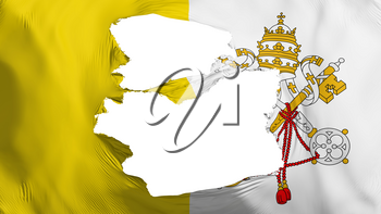 Tattered Vatican city, capital of Vatican flag, white background, 3d rendering