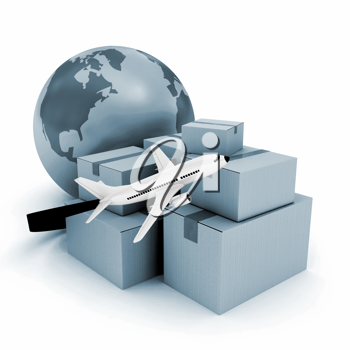 Royalty Free Clipart Image of a Globe and Airplane