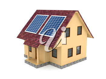 Royalty Free Clipart Image of Solar Panels on a House