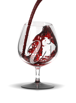 Royalty Free Clipart Image of a Glass of Red Wine