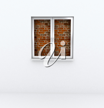 Royalty Free Clipart Image of a Brick Wall Behind a Window