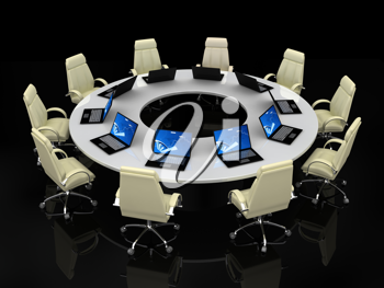 Royalty Free Clipart Image of a Conference Table With Laptops