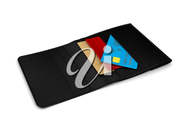 Royalty Free Clipart Image of an Opened Wallet