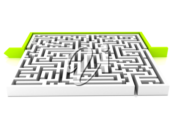 Royalty Free Clipart Image of a Labyrinth With an Arrow