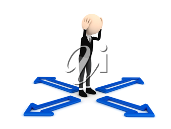 Royalty Free Clipart Image of an Indecisive Person