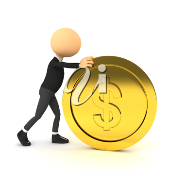 Royalty Free Clipart Image of a Businessman Pushing a Coin