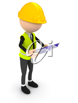 Royalty Free Clipart Image of an Engineer With a Blueprint