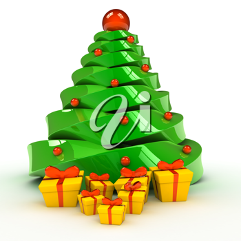 Royalty Free Clipart Image of Presents Under a Christmas Tree