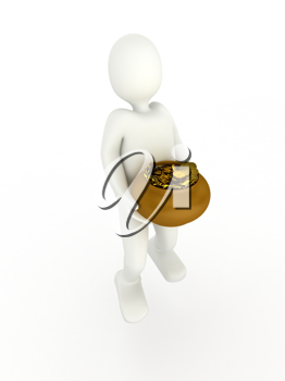 Royalty Free Clipart Image of a Person Carrying a Pot of Gold