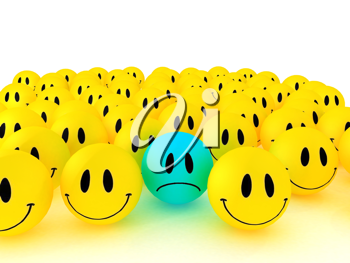 Royalty Free Clipart Image of a Group of Smiley Faces