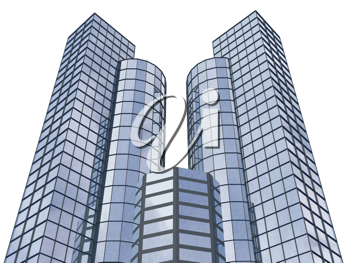 Royalty Free Clipart Image of Skyscrapers