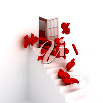 Royalty Free Clipart Image of a Staircase With Percent Signs
