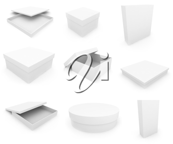 Royalty Free Clipart Image of White Boxes