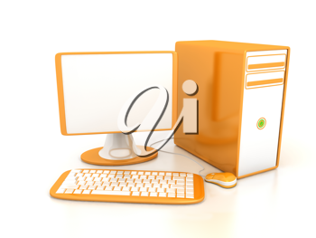 Royalty Free Clipart Image of a Computer and Keyboard