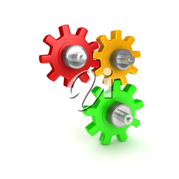 Royalty Free Clipart Image of Colorful Gears