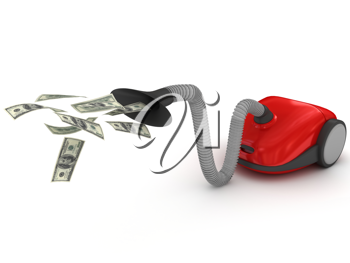 Royalty Free Clipart Image of a Vacuum Cleaner and Money