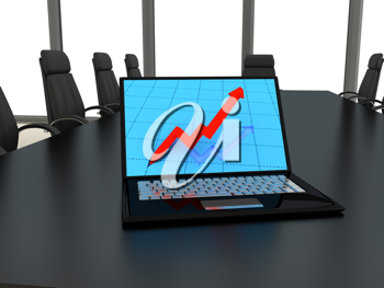 Royalty Free Clipart Image of a Laptop on a Table