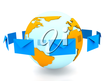 Royalty Free Clipart Image of a Globe With an Envelope