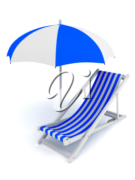 Royalty Free Clipart Image of a Chair Under an Umbrella