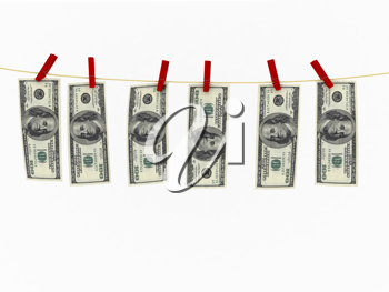 Royalty Free Clipart Image of a Money Hanging On a Clothesline