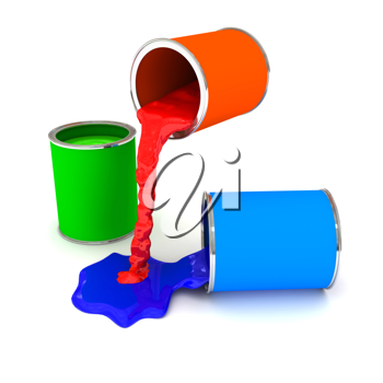 Royalty Free Clipart Image of Cans of Paint