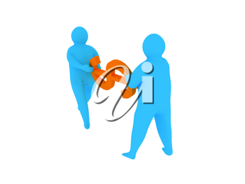 Royalty Free Clipart Image of Two People Holding a Dollar Sign