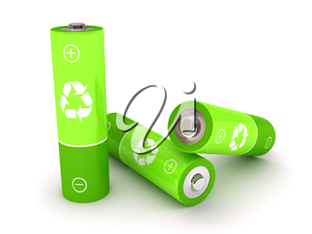Royalty Free Clipart Image of Green Batteries
