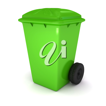 Royalty Free Clipart Image of a Green Garbage Bin