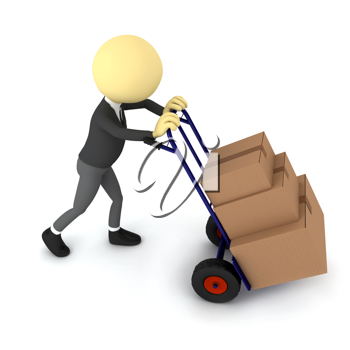 Royalty Free Clipart Image of a Person Pushing a Cart of Boxes