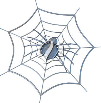 Royalty Free Clipart Image of a Spider in a Cobweb