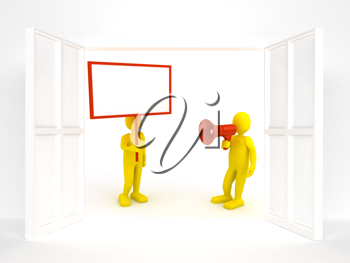 Royalty Free Clipart Image of a Person Holding a Poster