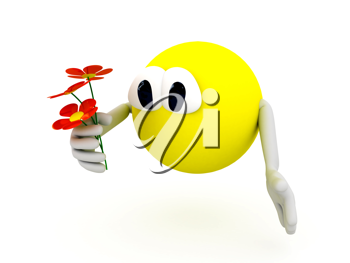 Royalty Free Clipart Image of a Character Holding Flowers
