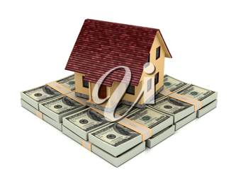 Royalty Free Clipart Image of a House on Money