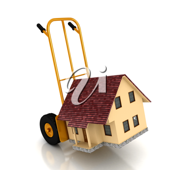 Royalty Free Clipart Image of a House on a Cargo Cart