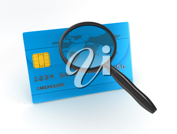 Royalty Free Clipart Image of a Magnifying Glass and Credit Card