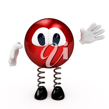Cartoon red character greeting you. 3d computer gererated image