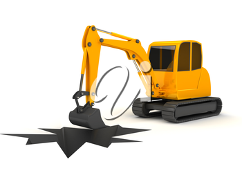 3d orange digger working on white background. computer generated