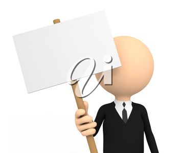 3d person with blank banner. computer generated image