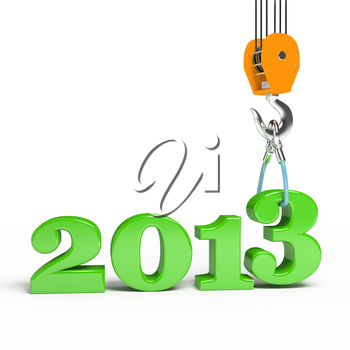 Building a hook puts the figure three. 3d illustration of New Year 2013