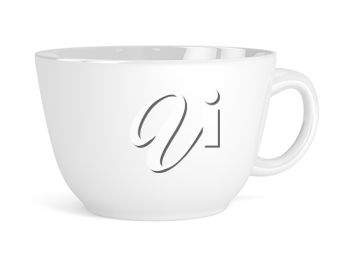 Cup white isolated on white background. 3d render