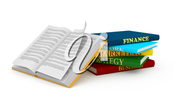 Open book over white background. Computer generated image