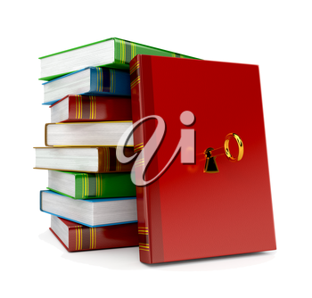 book with key in lock on white background. 3d render