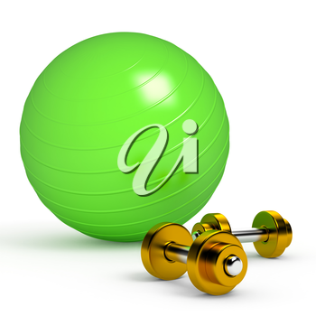 Green fitness ball isolated on white. 3d render