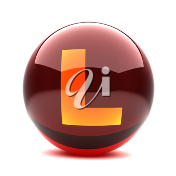 Royalty Free Clipart Image of a Sphere Letter 'L'